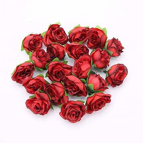 CXKSB Künstliche Blume 10/20 / 50 stücke Weihnachten 3 cm Rose Blume Kopf Künstliche Blumen für Hochzeit Party Weihnachten Handwerk Gefälschte Blume Dekoration Künstlicher Blumenkopf.