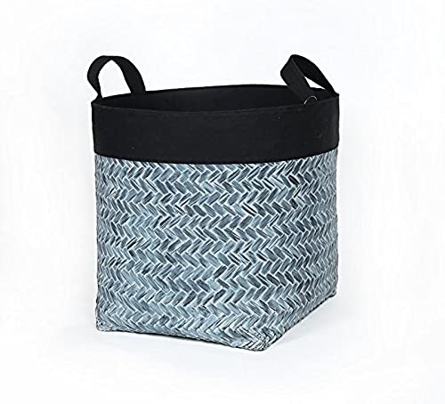 XBRla chambre salle de bains _ sale panier en toilettes chambre de bambou avec du tissu de finition lavage seau jouet panier panier,- revêteHommest noir noir,tuba