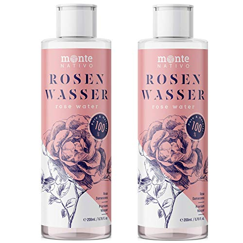 100% Pure Eau de Rose MonteNativo - 2x200ml - 100% Naturel, Lotion Tonifiante pour le visage, Hydrolat naturel de rose, Triple purification, eau florale de rose