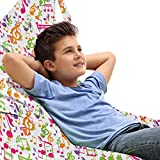 Ambesonne Music Lounger Chair Bag, Inspirational Sound Vibes Theme Sonic Rhythm Melody Cheerful Musical Notes Print, High Capacity Storage with Handle Container, Lounger Size, Multicolor
