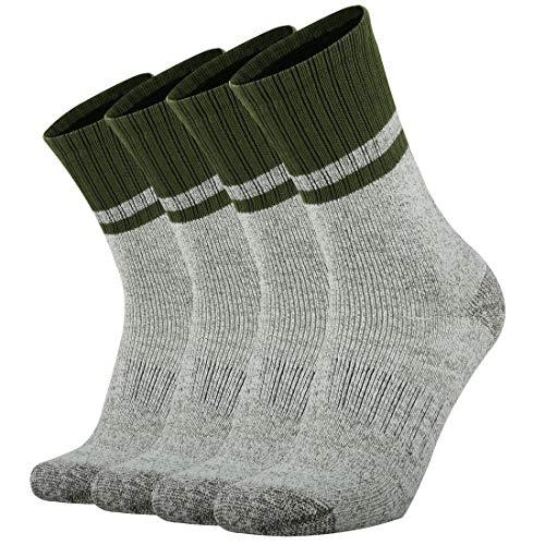 Ortis Men's 4 Pack Merino Wool Moisture Control Heavy Duty Work Boots Hiking Cushion Crew Socks(Green XL)