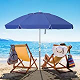 Bumblr 6.5ft Beach Umbrella with Sand Anchor & Tilt Mechanism Outdoor Sunshade Portable Umbrella with Carry Bag Wind Resistant UV Protection for Sand Heavy Duty Beach Garden Outdoor, Royal Blue