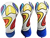 Majek Retro Golf Headcover Limited Edition Vintage Leather Style Psychedelic Colorful Groovy Custom Design #1 3 5 Driver Fairway Wood Head Cover