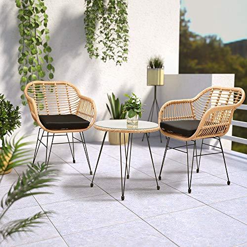 Casaria 3 TLG. Balkonset Beistelltisch 2 Lounge Sessel Indoor Outdoor Wetterfest Natur Poly Rattan-Look Sitzgruppe Garten Balkon Set - 6