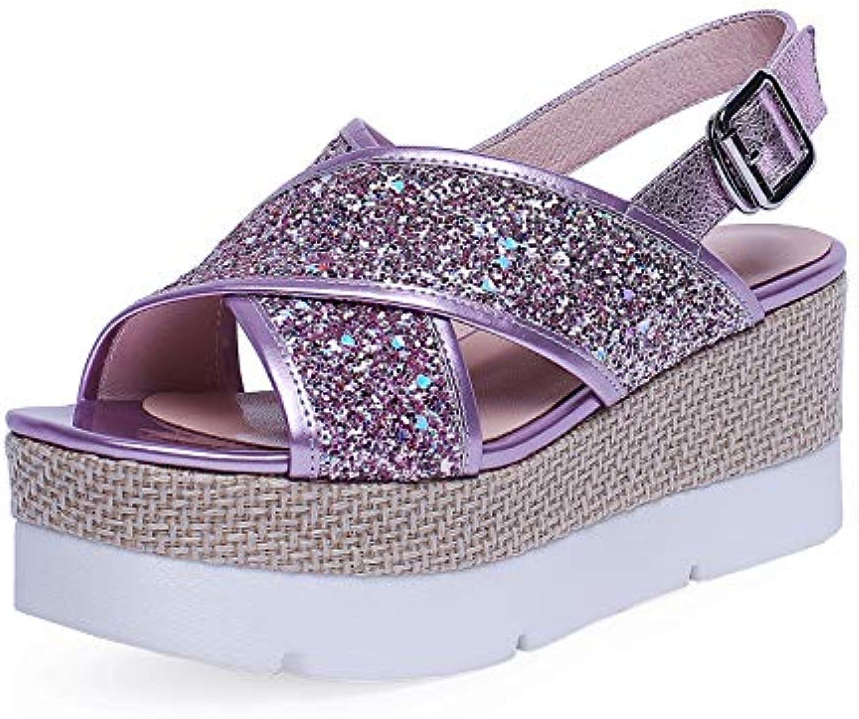 MENGLTX High Heels Sandalen 2019 Neue Sommer Klassische Mode Süe Frauen Sandalen Plattformen High Heels Runde Kappe Schnalle Schuhe Frau Party Grundlegende Schuhe