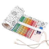 Abaría - Bolso para lápices, Grande Estuche Enrollable para 72 lapices Colores, portalápices de Lona, Bolsa Organizador lápices para Infantil Adulto, Constelación 72
