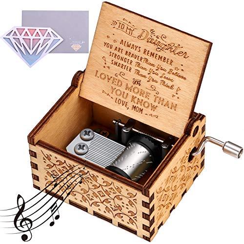 VIGEIYA Holz-Spieluhr für Kinder Handkurbel geschnitzt Vintage Craft Geschenk Small bis tochter von mutter