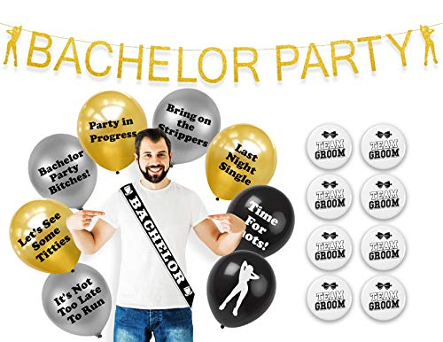 BroSash Bachelor Party Decorations, (Gold Bachelor Banner, Bachelor Sash, 16 Naughty Party Balloons, and 8 Team Groom Button Pins) 26 Piece Set, Bachelorette Party Supplies Gifts
