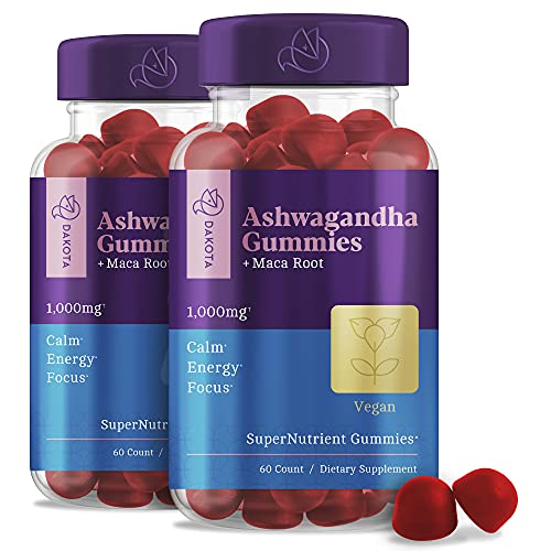 Ashwagandha Gummies with Organic Extract Supplements for Stress Relief, Sleep, Calm Mood Energy Chewable Gummy Vitamins for Women Men - Alternative to Capsules Liquid Drops (2 Pack)