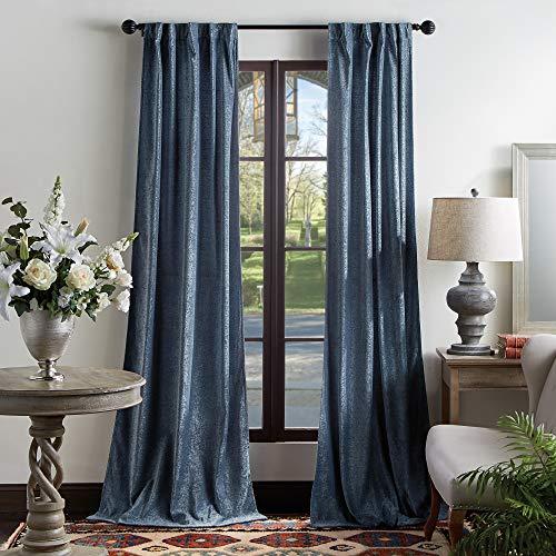 "MARTHA STEWART Naples Chenille Solid Back Tab Window Curtain Panel Pair, 84"", Navy"
