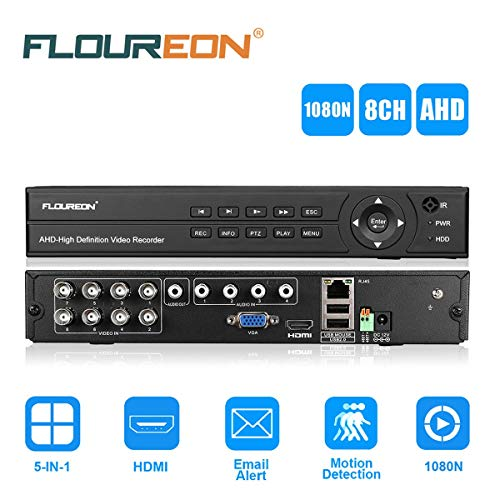 FLOUREON 8CH AHD 1080N HDMI DVR Recorder H.264 P2P CCTV Videoüberwachung unterstützt TVI/CVI/AHD/Analog/IP Kamera