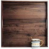 MAGIGO 19 x 19 Inches Large Square Black Walnut Wood Ottoman Tray with Handles, Serve Tea, Coffee Classic Wooden Decorative Serving Tray