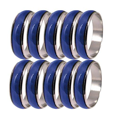 Homyl 10 Stücke Silber Stimmung Ringe Farbe Veränderbar Unisex Modeschmuck Größe 6-10
