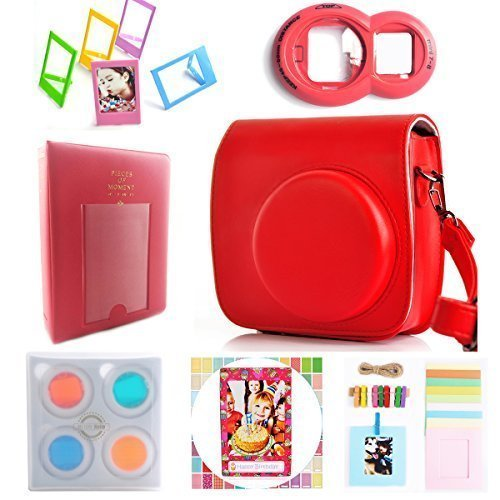 Instax Mini 8 Instant film Caméra 7-en-1 [Starter Pack] Accessoires Bundles pour Fujifilm Instax Mini 8 Caméra (Include Coque Instax Mini 8/Mini Photo Album/Close-up Selfie objectif/4 Colord Close-up filtre/fixation murale cadres photo/multicolore 7,6 cm Cadre film/film Stickers)