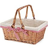 G GOOD GAIN Wicker Picnic Basket with Double Folding Handles,Willow Picnic Hamper,Natural Hand Woven Easter Basket,Easter Eggs and Candy Basket,Bath Toy and Kids Toy Storage,Gift Packing Basket.Linen