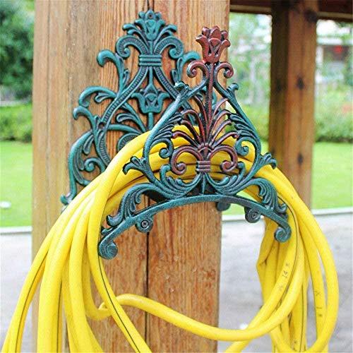 Support de Tuyau de Jardin en Fonte monté sur Support de Tuyau Robuste Ensemble de Support de Tuyau en métal intérieur extérieur Fer Vert 29x19x25 cm Perfect