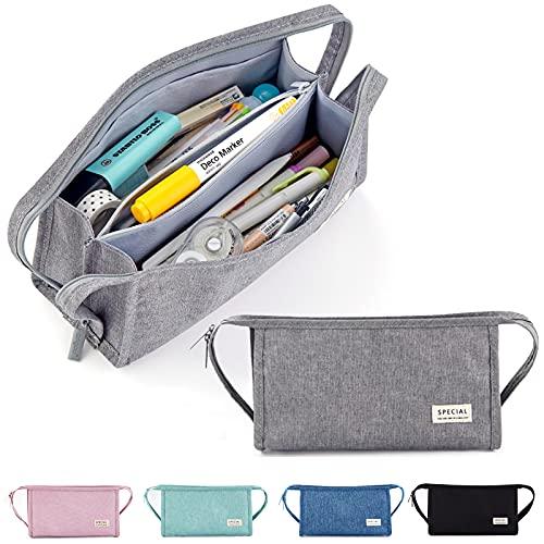 X SIM FITNESSX Estuche de lápices de gran capacidad para adolescentes y niños, 3 compartimentos, bolsa de maquillaje para la escuela y la oficina (gris)