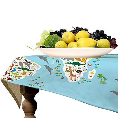 Animal World Map - Mantel rectangular de lino para mesa de cocina, comedor, decoración de mesa, 57 x 89 pulgadas