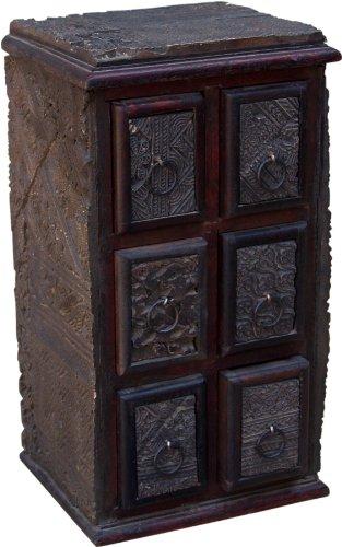 Guru-Shop Ladekast, Apothekerskast van Oude Blokdrukzegels - Model 14, Bruin, 36x20x16 cm, Blikken, Dozen Kisten