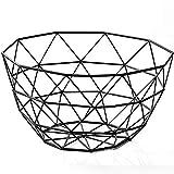 Wire Fruit Basket, Creative Mesh Fruit Dish Basket Bowl, Round Black Large Metal Storage Baskets, Modern Style Container Centerpiece for Vegetables, Bread, Snacks, Potpourris (Black, Large)