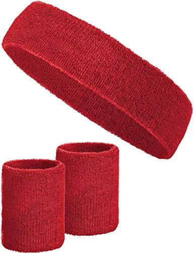 3-teiliges Schweißband-Set mit 2X Schweißbändern für die Handgelenke + 1x Stirnband für Damen & Herren (Rot)
