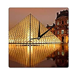 onepicebest Square Wooden Wall Clock, Louvre River Silent Non Ticking Wall Decor for The Living Room, Kitchen, Office, Bedroom, Patio,12 x 12 Inch