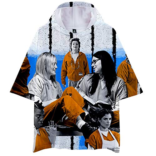 Orange is The New Black T-Shirt Unisex Sommer Digital gedruckte T-Shirt mit Kapuze Tops Short Sleeve Hipster Lose Blusen Orange is The New Black Polo (Color : A07, Size : Height-155cm (Tag XS))