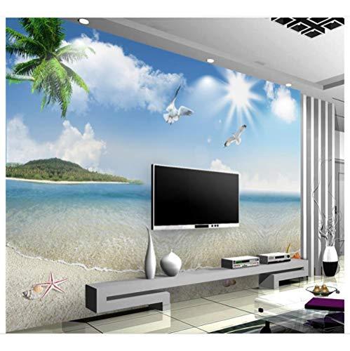 Pbbzl aangepaste muurschilderingen behang mediterrane muurschildering blauwe hemel witte wolken zee duif zeegezicht tv achtergrond muur foto behang decor 350 x 250 cm.
