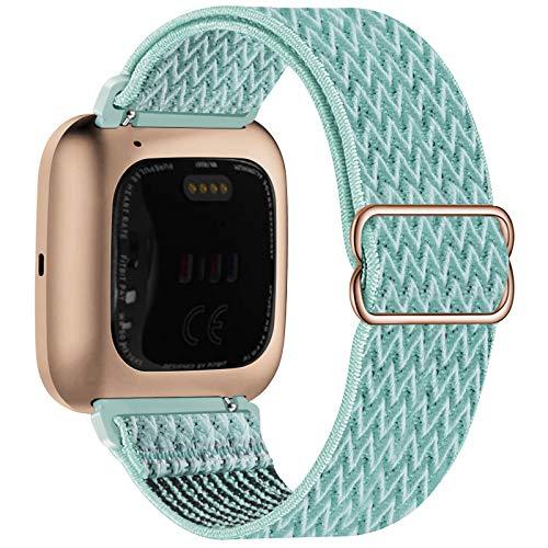 UHKZ Elastic Watch Bands Compatible with Fitbit Versa/Versa 2/Versa Lite/Versa SE,Adjustable Stretchy Nylon Fabric Sport Wristband for Versa Smartwatch Wristband for Women Men,Marine Green