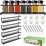 DazSpirit Especiero de cocina Especiero de pared estante para Autoadhesivo almacenamiento de especias estante largo para refrigerador, armario de cocina, armario, 29 x 6,35 x 6 cm, negro(4 piezas)