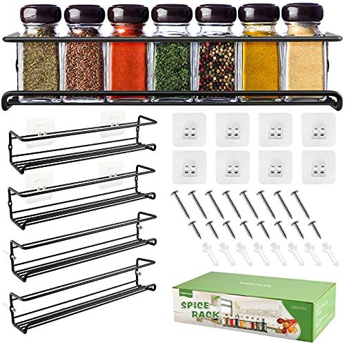DazSpirit Especiero de Cocina, Especiero Extraible de Pared Estante para Autoadhesivo, Cuatro Estantes Organizador de Especias Metal Negro 29 x 6,35 x 6 cm