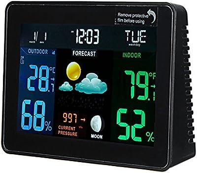 ROUHO Dc 4.5 V Estación Meteorológica Inalámbrica Reloj Multifunción Digital Temperatura Humedad Medidor Interior/Exterior