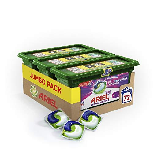 Ariel 3en1 Pods + Fribre Protection - Lessive Doses - 72 lavages (3x24 Capsules)