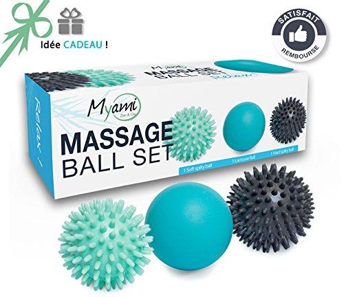 Relax - Massageball Set - 2 Igelbälle (hart & weich) & 1 Lacrosse Massage Ball - Massage von dem Rücken, Nacken und Faszien
