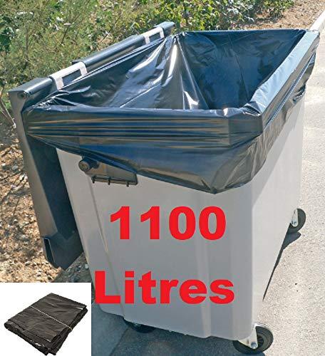 Housses conteneurs 1100L PE BD super renforcé noir - Carton(s) de 50
