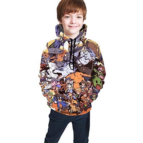 Suter con Capucha para nios y nias Adolescentes, Suelta, cmoda, Transpirable, Informal Digimon L