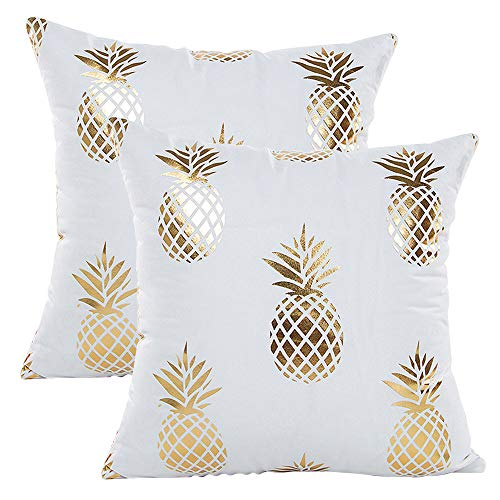 GRESAHOM Pack of 2 Bronzing Cushion Cover, Pillow Covers Home Decorative Square Pillowcase with Invisible Zipper, Gold and White Throw Cushion Cover for Sofa Car Bedroom Indoor Outdoor,18x18 Inch