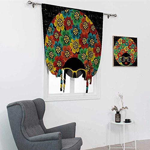 GugeABC Cortinas cortas de fiesta de los años 70, estilo abstracto de mujer con estilo de pelo con flores coloridas gafas de sol de labios gráficos, aislamiento térmico, 99 x 162 cm
