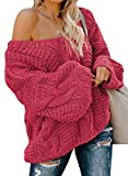 Astylish Women's Sexy Chunky Off The Shoulder Loose Fit Oversized Baggy Knit Pullover Sweater Jumper Rose Small
