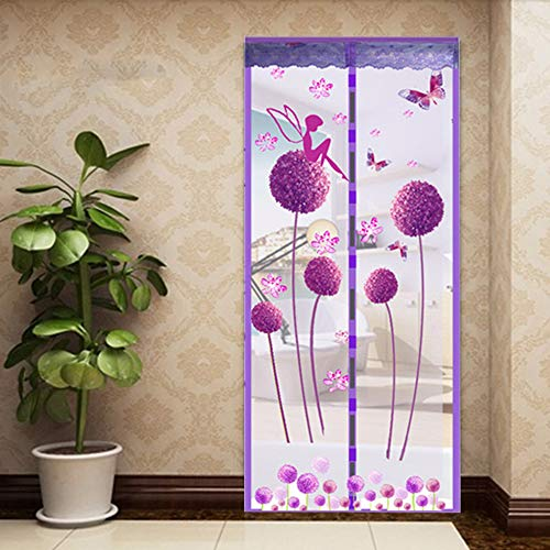 Dandelion Elf Magnetische Window Deur, Fly Screen Mosquito Mesh Net Gordijn Auto vouwen Dieren Friendly,Purple,100 * 210cm