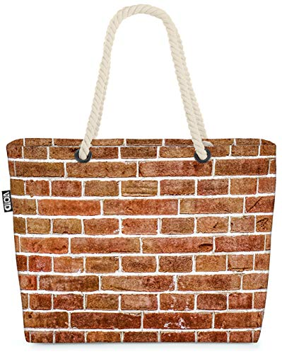 VOID Backstein Mauer Garten Strandtasche Shopper 58x38x16cm 23L XXL Einkaufstasche Tasche Reisetasche Beach Bag