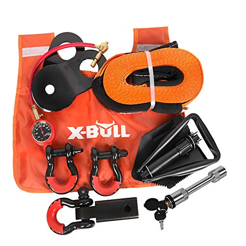 X-BULL Winch Accessory Kit Recovery Kit :Recovery Tow Strap + D-Ring Shackles+ 8-Ton Snatch Block +Shackle Hitch Receiver +Trailer Hitch Lock+ Winch Dampener+Folding Survival Shovel+Tire Deflator
