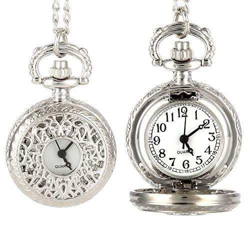 J-Love Reloj de Bolsillo de Cuarzo Vintage para Mujer, aleación Que se Puede Abrir, Flores ahuecadas, Cadena de suéter para Mujer, Collar, Reloj Colgante, Regalos