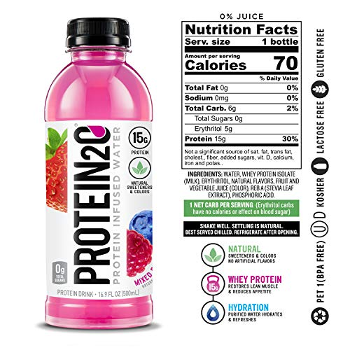 Protein2o Low Calorie Protein Infused Water, 15g W   hey Protein Isolate, Mixed Berry (Pack of 12)