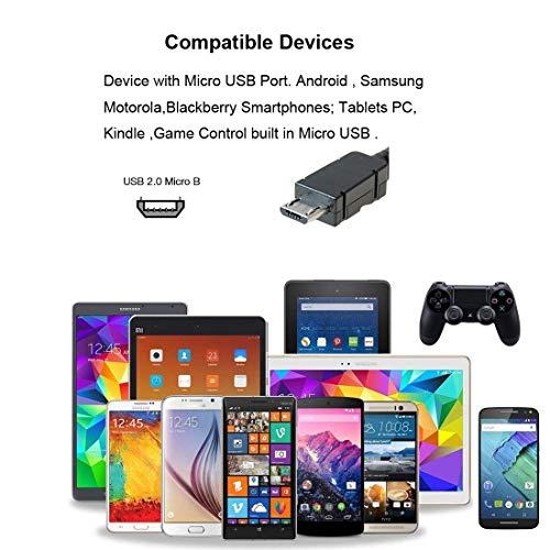 LoongGate Super kurz rechts Winkel Micro-USB-Kabel, Nylon geflochtene 90 Grad USB A bis Micro B-Lade-und datensync-Kabel für alle Micro-USB-Geräte (25cm, schwarz)