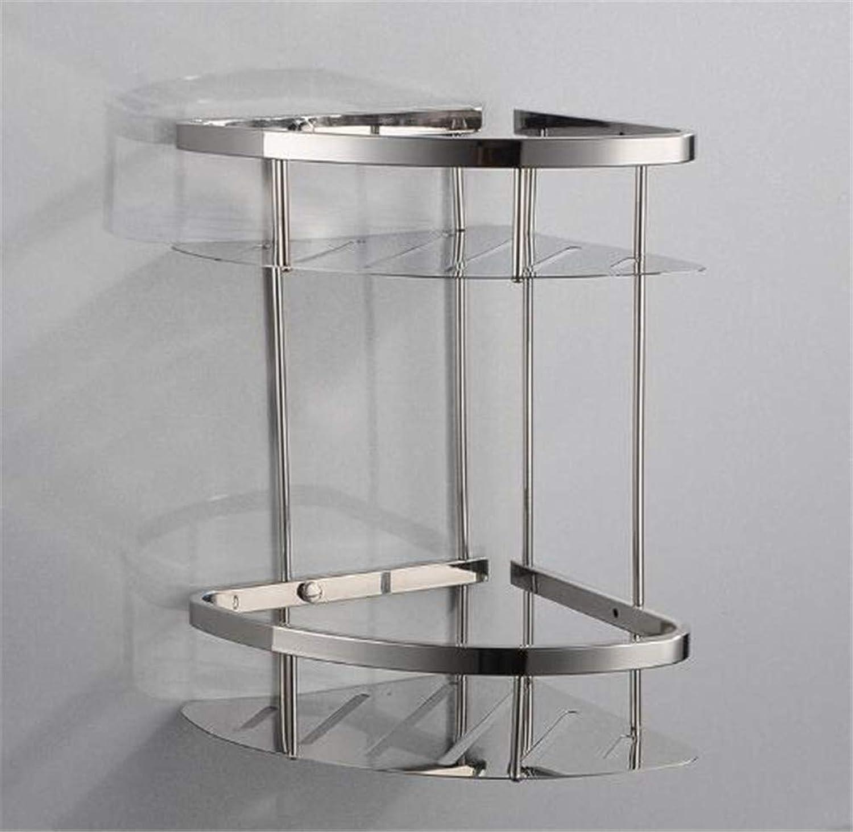 LUDSUY 304 Stainless Steel Bathroom Shelf Polished Triangle Basket Bathroom Shelf Corner Rack Multi-Functional Storage Rack