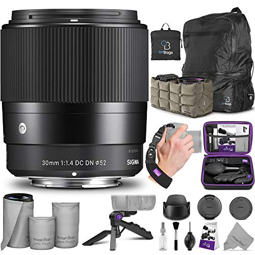 Sigma 30mm F1.4 Contemporary DC DN Lens for Sony E Mount Cameras with Essential Photo and Travel Bundle