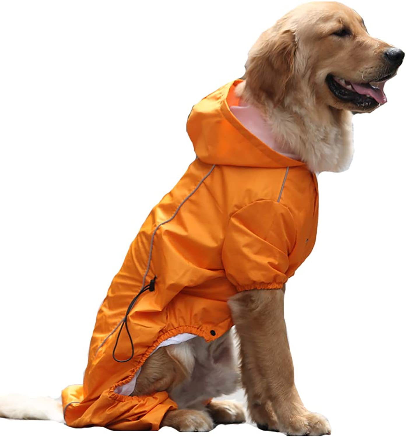 Dog Raincoat Hooded,Dog Rain Poncho Inner Breathable mesh Comfortably Breathable FourLegged Abdomen tightens for a Closer Look Scratch Resistant,orange,M