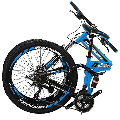 Eurobike 26 in Mountain Bike Folding Bicycle 21 Speed 3 Colors (Blue)