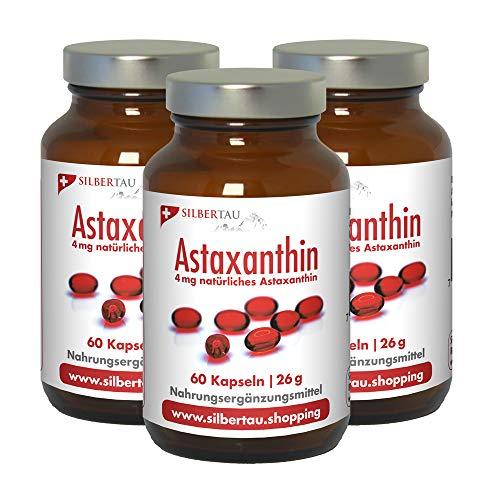 Astaxanthin Softgels 3-er Set von Silbertau - 4 mg reines natürliches Astaxanthin Mikroalge Haematococcus Pluvialis - Starke Antioxidative Wirkung Ohne Zusätze